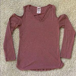 Vocal Cold Shoulder Long Sleeve Shirt